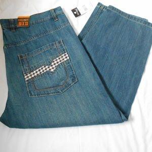 NWT $57 EVOLUTION IN DESIGN BLUE JEAN PANTS 50X33